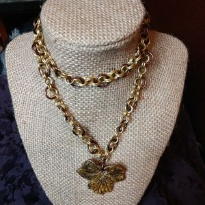 Ceramic leaf & chainmail necklace aluminum OOAK